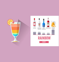 Flat style rainbow cocktail menu design vector