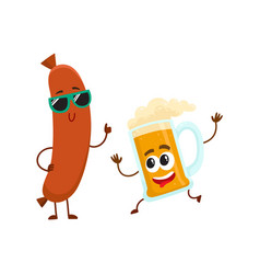 funny beer glass and frankfurter sausage vector image