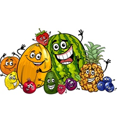 funny fruits group cartoon vector image