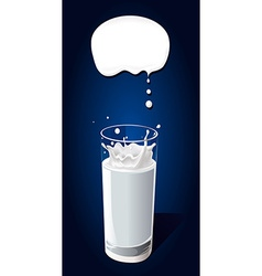Glass of milk with splash a nd speech bubble on vector