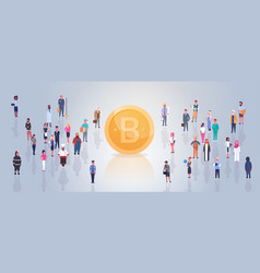 golden bitcoin over people crowd modern web money vector image