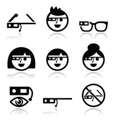 Google glass icons set vector image