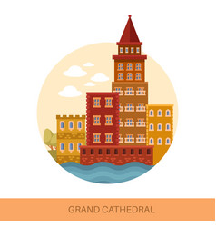 grand medieval cathedral or old european church vector image