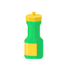 Green and yellow plastic reusable water bottle vector