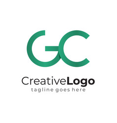 green circular initial letter g and c business vector image