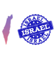 halftone gradient map of israel and distress stamp vector image