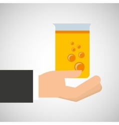 Hand holding tube lab chemical graphic vector