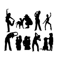 happy mother silhouettes vector image