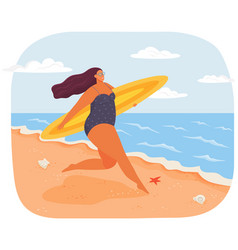 happy plus size woman in swimsuit with surfboard vector image