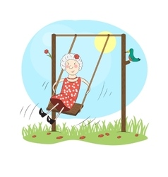 Happy woman on a swing vector image