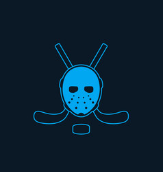 hockey icon with mask and crossed sticks vector image