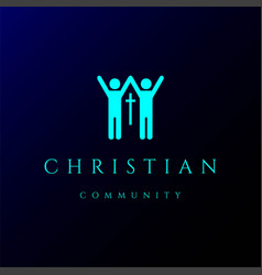 human people with cross christian church community vector image