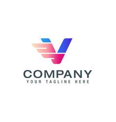 initial v wings logo logo design template vector image
