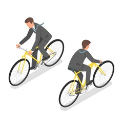 Isometric of a businessman riding a bicycle vector image