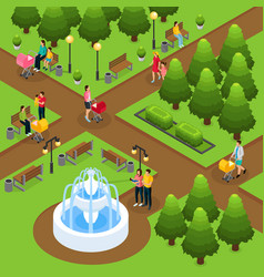isometric people in public park template vector image