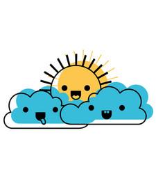 kawaii cloud cumulus and sun in watercolor vector image