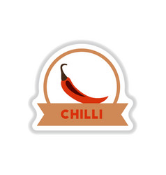 Label icon on design sticker collection chilli vector