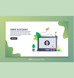 Landing page template user account modern flat vector