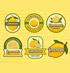 lemonade badges retro labels with lemon vector image