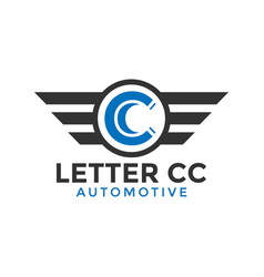 letter cc automotive wing logo icon design vector image