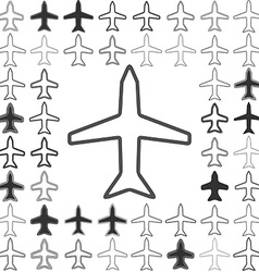 Line aircraft icon design set vector image