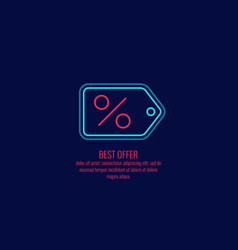 linear shortcut icon for discounts on a dark vector image