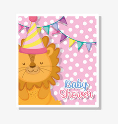 Lion with party banner to baby shower celebration vector