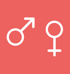 Male and female signs isolated on red background vector