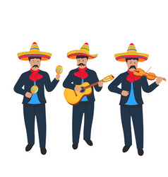 Mariachi mexican street band in national costume vector