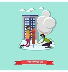 men launching firework in vector image