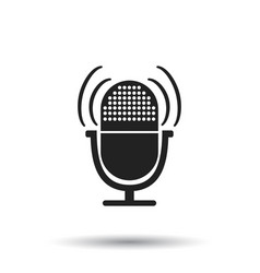 Microphone icon flat microphone sign symbol with vector
