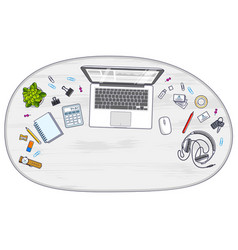 Office desk workspace top view with laptop vector