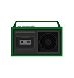old portable tape recorder with buttons and handle vector image