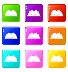 Opened book with pages fluttering icons 9 set vector