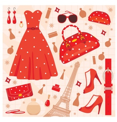 paris fashion set vector image