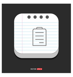 pencil note icon gray icon on notepad style vector image
