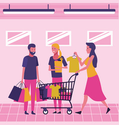 people on supermarket vector image