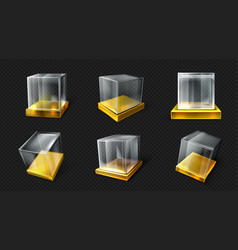 Plastic glass cube on gold base various angle view vector