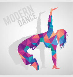 Polygonal silhouette of girl dancing modern dance vector