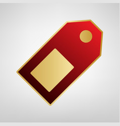 price tag sign red icon on gold sticker vector image