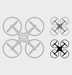 quadcopter mesh carcass model and triangle vector image