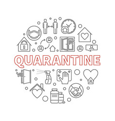 Quarantine concept round linear vector