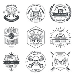Race Bikers Garage Repair Service Emblems and vector image