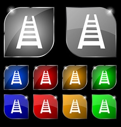 Railway track icon sign Set of ten colorful vector image
