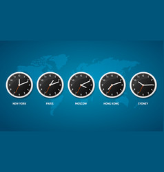 realistic detailed 3d clock on a map world time vector image