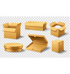 realistic empty cardboard box opened brown vector image
