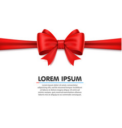 Realistic red bow on white background vector