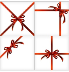 Red Gift Ribbon set backgrounds eps10 vector image
