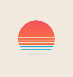 retro sunset above sea or ocean with sun and vector image
