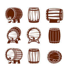 retro wooden barrels set strongly knocked down vector image